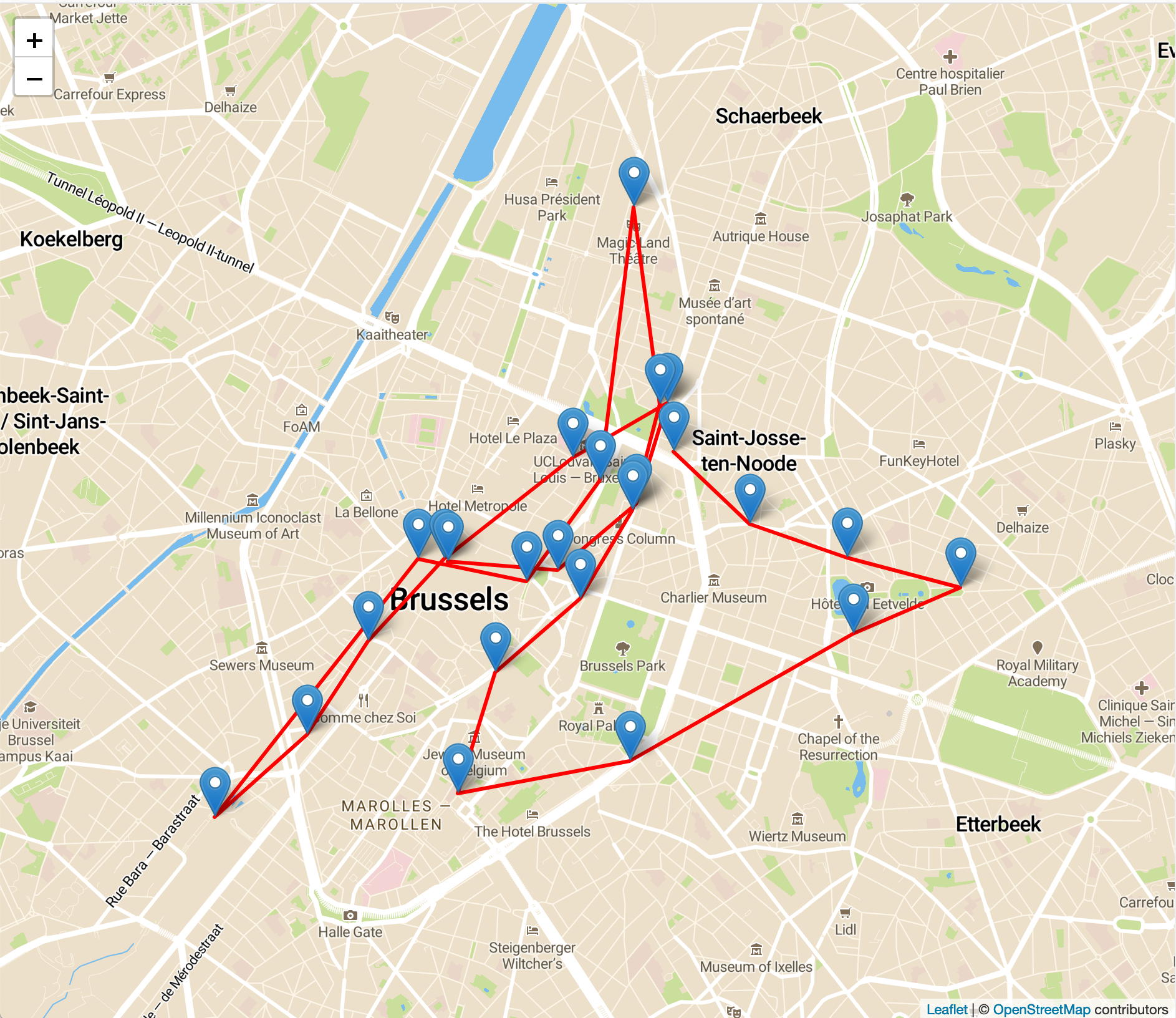 A map of Brussels with some location markers